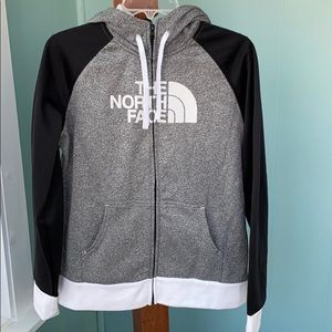 North Face color block hoodie